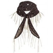 Avec Les Filles by Joyce Azria Celestial Print Skinny Scarf (Black) Size One Size - Accessories - $28.00