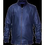 Aviator Mens Blue Lambskin Leather Bomber Jacket - Jacket - coats - 220.00€  ~ $256.15