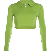 Avocado Green Polo Collar Wool Top T-Shi - Shirts - $25.99