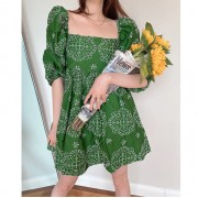 Avocado Green Square Collar Bubble Short-Sleeved Hollow Embroidered Doll Dress - Haljine - $29.99  ~ 190,51kn