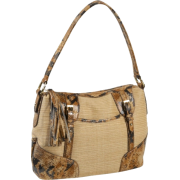 B. Makowsky Mansfield Python Embossed Trim Straw Hobo Natural/Caramel - Bag - $71.99