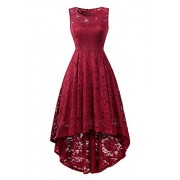 BBX Lephsnt Womens Lace Cocktail Dress Elegant Floral Sleeveless Swing High Low Formal Prom Dress - Obleke - $34.99  ~ 30.05€