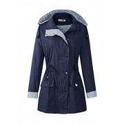 BBX Lephsnt Women's Waterproof Jacket Hooded Lightweigth Raincoat Active Outdoor Trench Coat, Navy Blue, Large - Outerwear - $39.99  ~ 34.35€