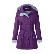 BBX Lephsnt Women's Waterproof Jacket Hooded Lightweigth Raincoat Active Outdoor Trench Coat, Purple, L - Outerwear - $39.99  ~ 34.35€