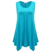 BELAROI Womens Plus Size Sleeveless Comfy Tunic Tank Top - Shirts - $15.98