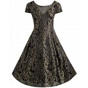 BIUBIU Women's Plus Size Vintage Lace Embroidered Party A Line Dress XL-5XL - Dresses - $49.98
