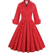 Babyonline Retro Vintage Women Dresses 1950s Rockabilly Audrey Hepburn Gown - Dresses - $23.99