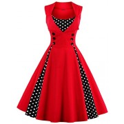 Babyonline Women Vintage 1950s Polka Dot Party Cocktail Dresses - Dresses - $14.89