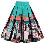 Babyonline Women Vintage Skater Skirts High Waist Midi Print Rockabilly Skirt - Skirts - $15.99
