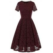 Babyonline Women's Bridesmaid Vintage Tea Dress Floral Lace Cocktail Formal Swing Dresss - Dresses - $28.39