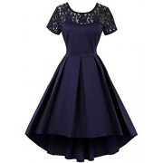 Babyonlinedress Babyonline Women 1950s Vintage Short Sleeves Sheer Lace Short Wedding Dress - Dresses - $22.99