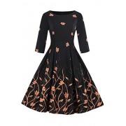 Babyonlinedress O-Neck 3/4 Sleeve Floral Printed Vintage Dresses for Women - Dresses - $24.99