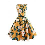 Babyonlinedress O-Neck Printed Vintage Swing Formal Cocktail Dresses - Dresses - $20.99