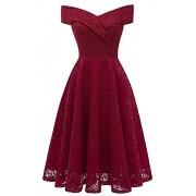 Babyonlinedress Sleeveless Off Shoulder V-Neck Lace Cocktail Bridesmaid Dresses - Dresses - $30.99