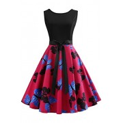Babyonlinedress Women's Vintage 1950s Print Cocktail Dresses with Bowknot - Dresses - $16.79