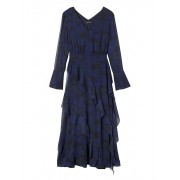 Banana Republic Camo Print Bias Ruffle Midi Dress - Navy - Dresses - £120.00  ~ $157.89