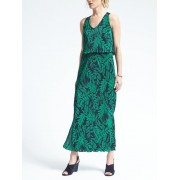 Banana Republic Fern Print Layered Pleat Maxi Dress - Fern print - Dresses - £99.50  ~ $130.92
