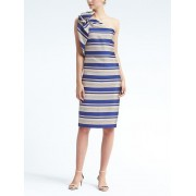 Banana Republic One Shoulder Bow Stripe Dress - Cobalt stripe - Dresses - 119.00€  ~ $138.55