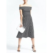 Banana Republic Stripe Off Shoulder Midi Dress - Black/white - Dresses - £85.00  ~ $111.84