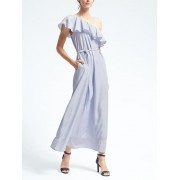 Banana Republic Stripe One Shoulder Maxi Dress - White/blue - Dresses - 119.00€  ~ $138.55
