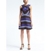 Banana Republic Stripe Ruffle Silk Dress - Blue stripe - Dresses - £110.00  ~ $144.73