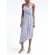 Banana Republic Stripe Strappy Asymmetrical Foldover Dress - Blue stripe - Dresses - 119.00€  ~ $138.55