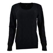 Banana Republic Womens Jersey Scoop Neck Cableknit Sweater Black Large - Shirts - $59.99