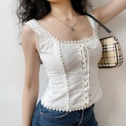 Baroque court style embroidery lace texture retro white bandage vest suspenders - Camisas - $32.99  ~ 28.33€