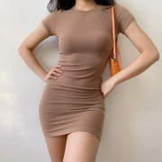 Basic round neck versatile nude brown short sleeve body slim dress - Haljine - $27.99  ~ 177,81kn