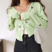 Basic wild butterfly embroidery cardigan small jacket short section high waist l - Košulje - kratke - $28.99  ~ 184,16kn