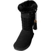 Bearpaw Womens Constantine 11-inch Sheepskin-lined Knit and Suede Boot Black - Boots - $49.99