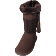Bearpaw Womens Constantine 11-inch Sheepskin-lined Knit and Suede Boot Chocolate - Boots - $49.99