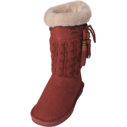 Bearpaw Womens Constantine 11-inch Sheepskin-lined Knit and Suede Boot Redwood - Boots - $49.99