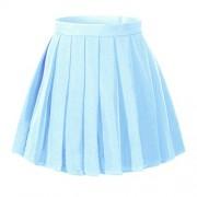 Beautifulfashionlife Women`s Japan School Slim Waist Band Pleated Costumes Skirts (M,Sky Blue) - Skirts -
