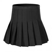 Beautifulfashionlife Women's Short Cheerleader Solid Pleated Mini Tennis Skirt(2XL, Black) - Skirts -