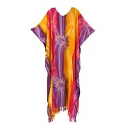 Beautybatik Tie Dye Caftan Kaftan Loungewear Maxi Long Dress - Shirts - $38.99