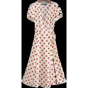 Beige Dark Red Dot French Wrap Dress - Shirts - $27.99