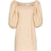 Beige Puffed Sleeved Dress - Dresses -