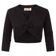 Belle Poque 3/4 Sleeve V-Neck Bow-Knot Open Cropped Shrug Bolero Cardigan BP740 - Shirts - $13.99