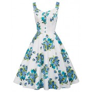 Belle Poque Homecoming 1950s Retro Vintage Sleeveless V-Neck Flared A-Line Dress BP416 - Flats - $17.66
