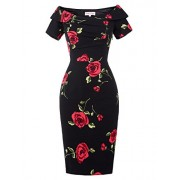 Belle Poque Off Shoulder 1950s Vintage Dress Short Sleeve Homecoming Pencil Dress - Flats - $9.99