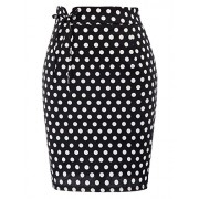 Belle Poque Retro Polka Dots Lacing High Waist Slim Fit Pencil Skirt BP733 - Skirts - $9.88