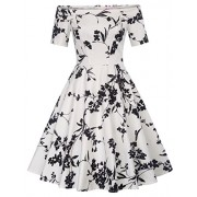 Belle Poque Retro Vintage Off Shoulder Cocktail Dress Floral A-Line Cotton Dress - Dresses - $19.88