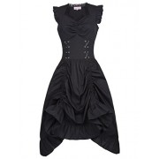 Belle Poque Steampunk Gothic Victorian Ruffled Dress Sleeveless - Flats - $24.99