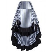 Belle Poque Striped Steampunk Gothic Victorian High Low Skirt Bustle Style - Flats - $26.99