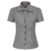 Belle Poque Summer Short Sleeve Office Button Down Blouse Stripe Shirt Tops with Bow Tie BP573 - Flats - $7.99
