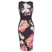 Belle Poque Summer Sleeveless V-Neck 1950s Pencil Dress Floral Cocktail Party Dress BP431 - Dresses - $18.88