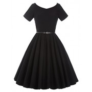 Belle Poque Womens 1950s V-Neck Vintage Swing Evening Party Dress with Belt - Dresses - $19.99