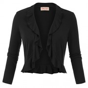Belle Poque Women's 3/4 Sleeve Shrug Ruffled Hem Bolero Cardigan - Shirts - $15.99