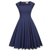 Belle Poque Women's Pleated Casual Vintage Swing A-Line Dress BP434 - Dresses - $14.99